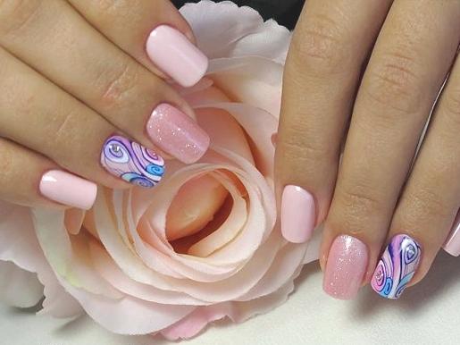 Овально квадратная форма ногтей фото с красивым дизайном