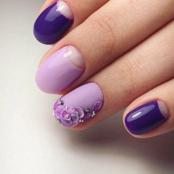 Овальные ногти недлинные с гель-лаком и лепкой фото