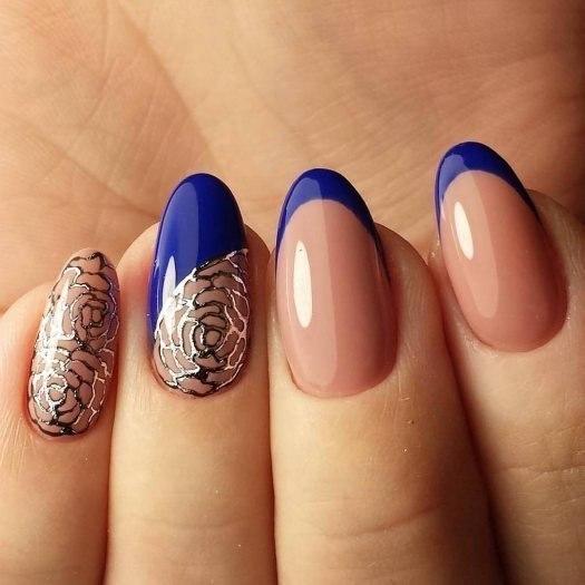 Фото миндальной формы ногтей с короткой формой и френчем