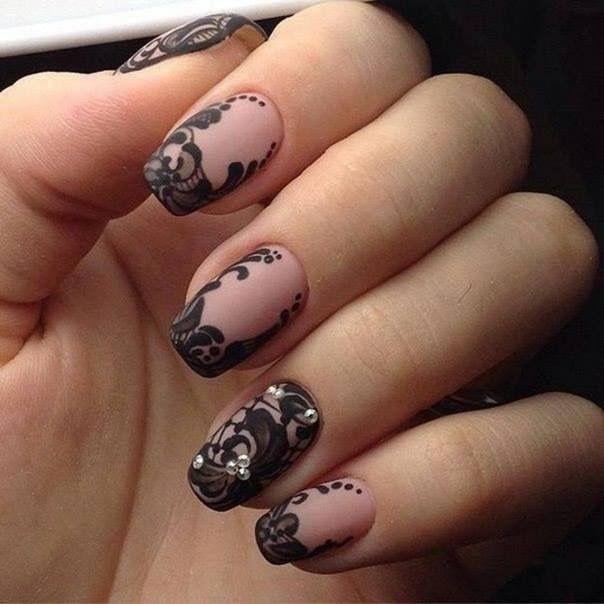 Ажурный рисунок матовые ногти фото