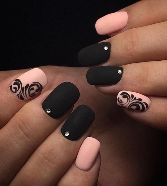 Красивые черные матовые ногти фото