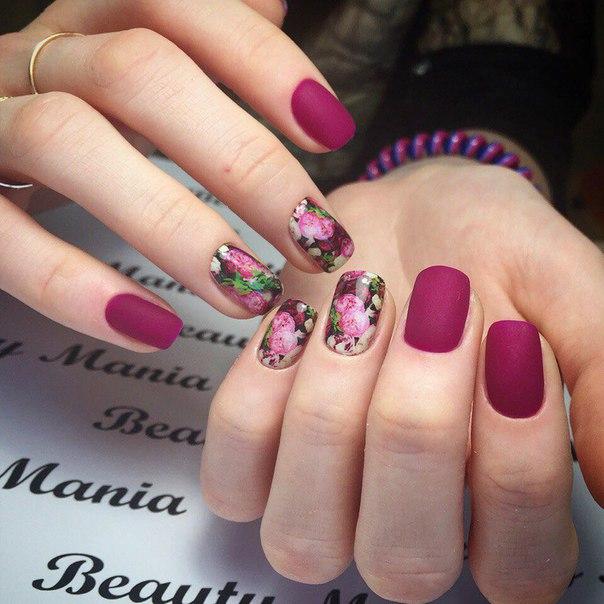 Матовые ногти с рисунком наклейками фото