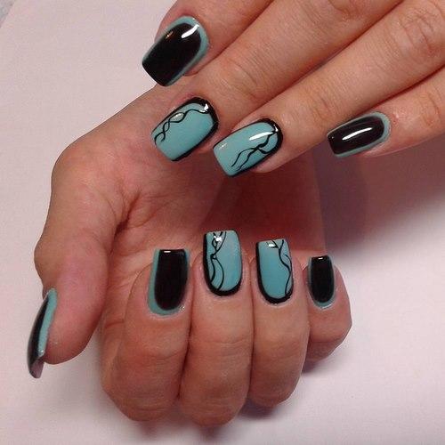 Покрытие гель-лаком на натуральные ногти фото черно-зеленые ногти