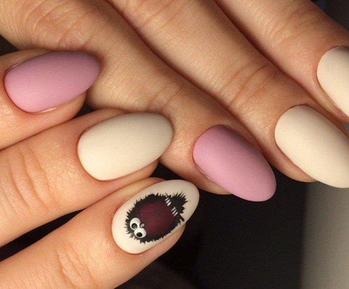 Розовые матовые ногти овал фото