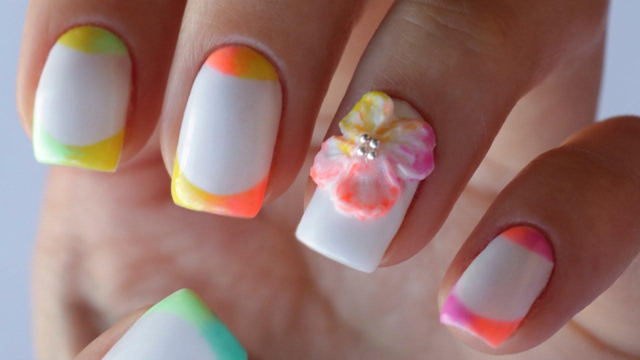 Объемный цветок на ногтях фото