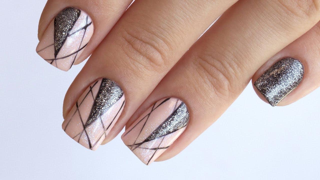 Рисунок глиттерным гелем на ногтях фото